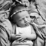 Newborn photography black and white portrait asleep baby