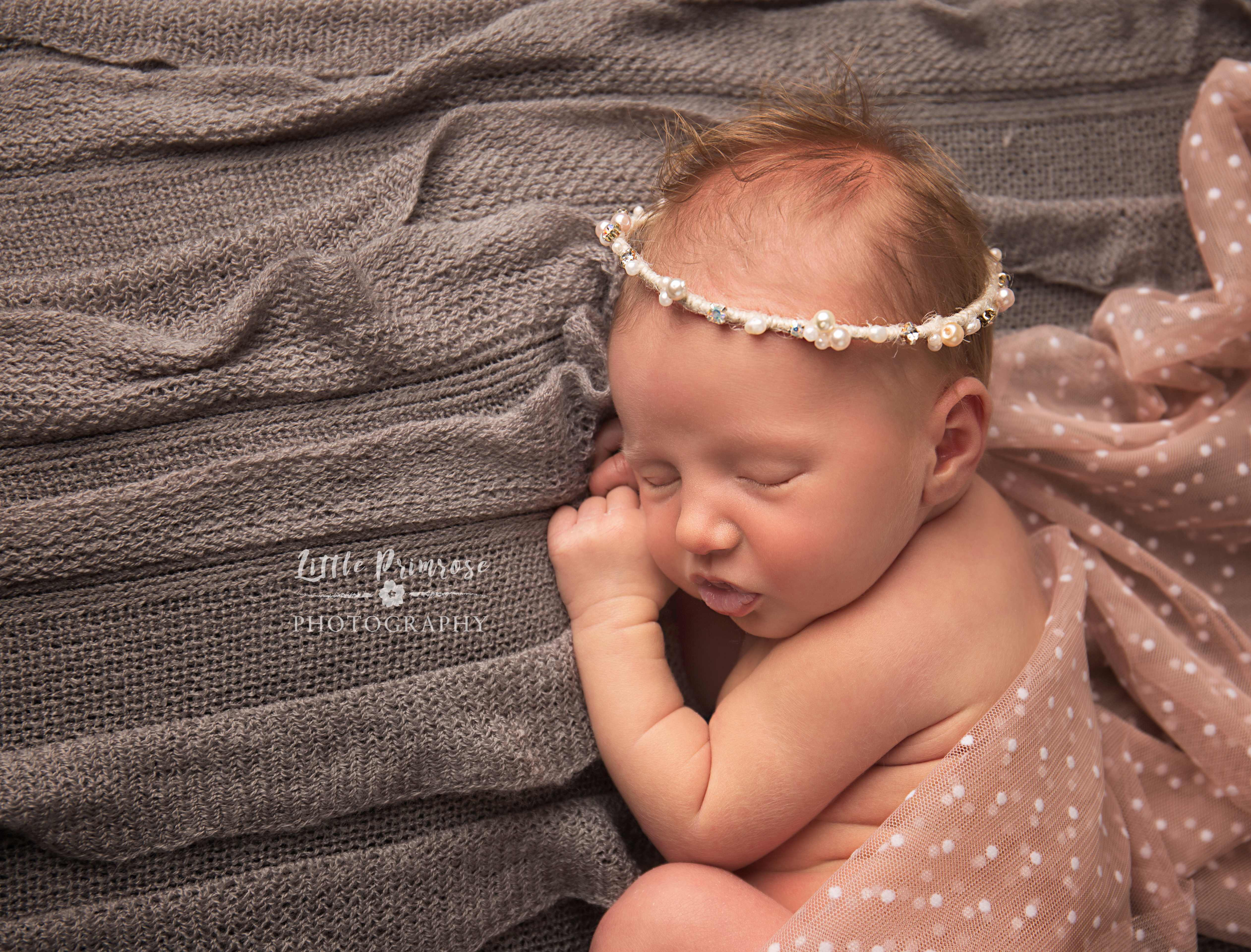 Newborn photography Brereton baby with sparkly halo and pink wrap