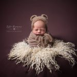 Newborn photography Cheshire - potato sack with Teddy bead ears