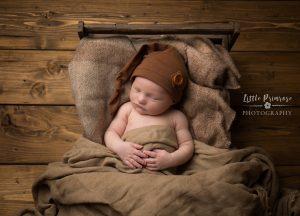 newborn baby photographer - Sandbach, Cheshire - crate. sleepy hat