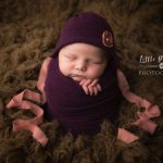newborn baby photographer - Sandbach, Cheshire - potato sack, purple