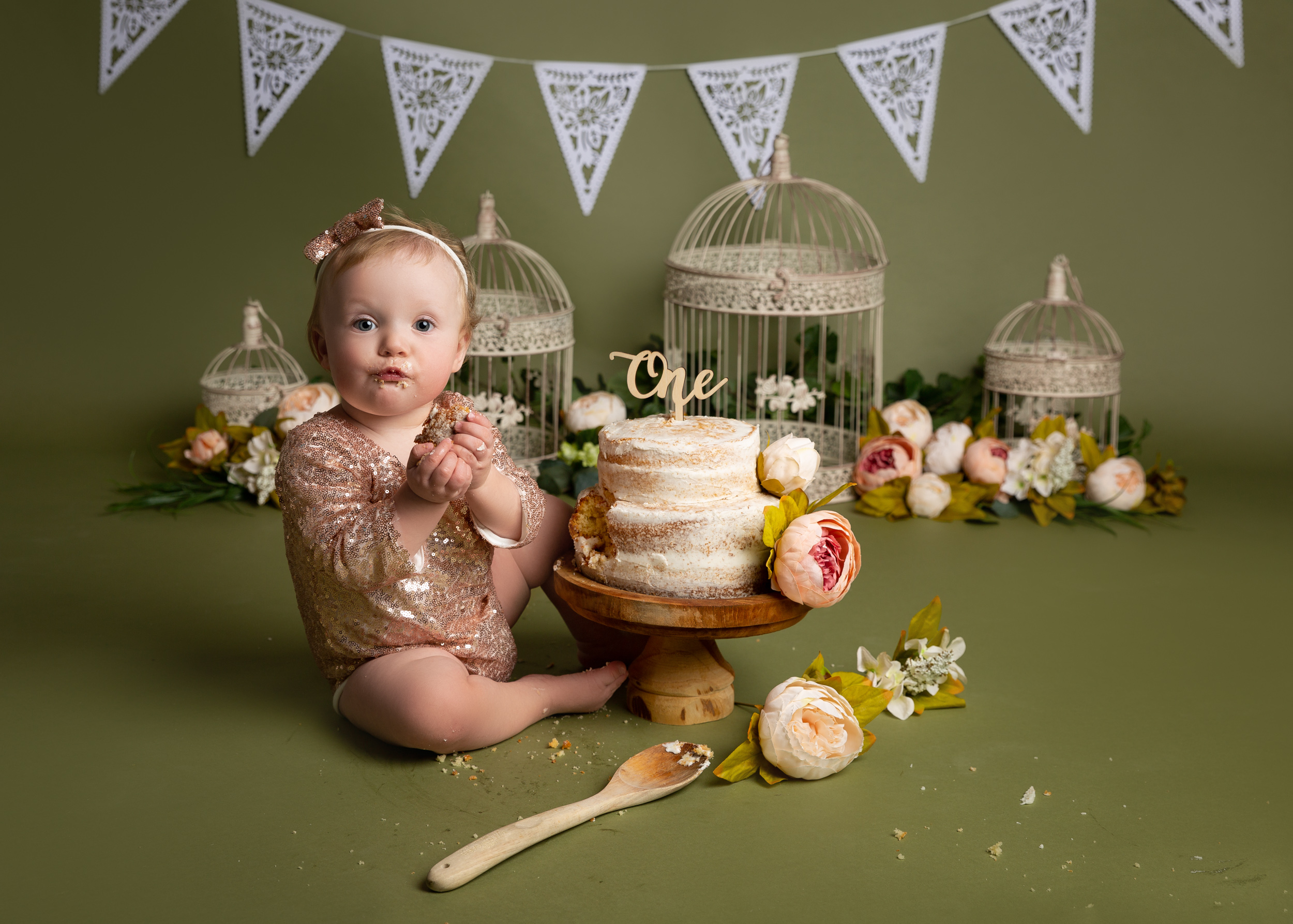 Spring colours cake smash set up for a little girl