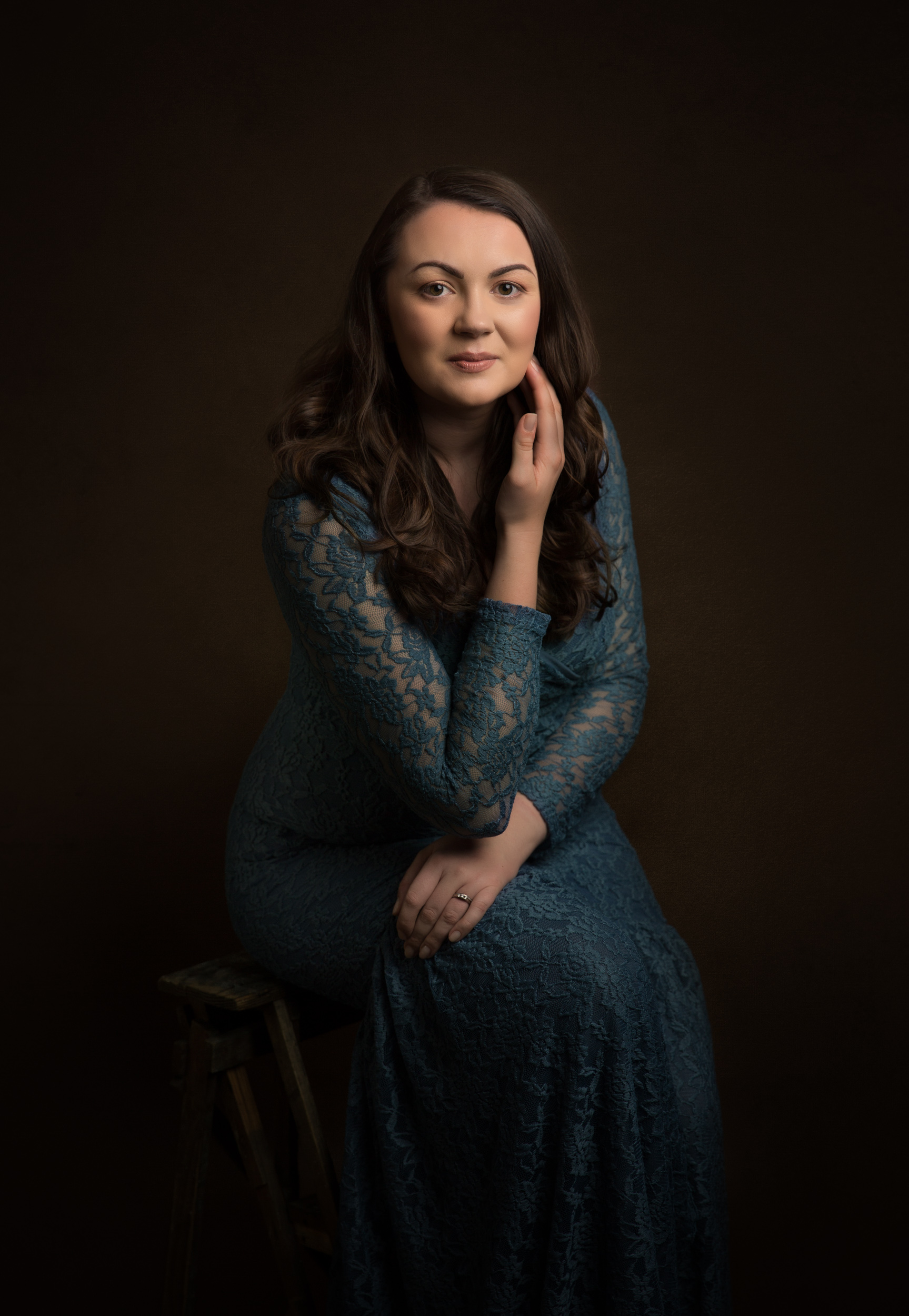 Image of a dark haired lady at her portrait session in Cheshire