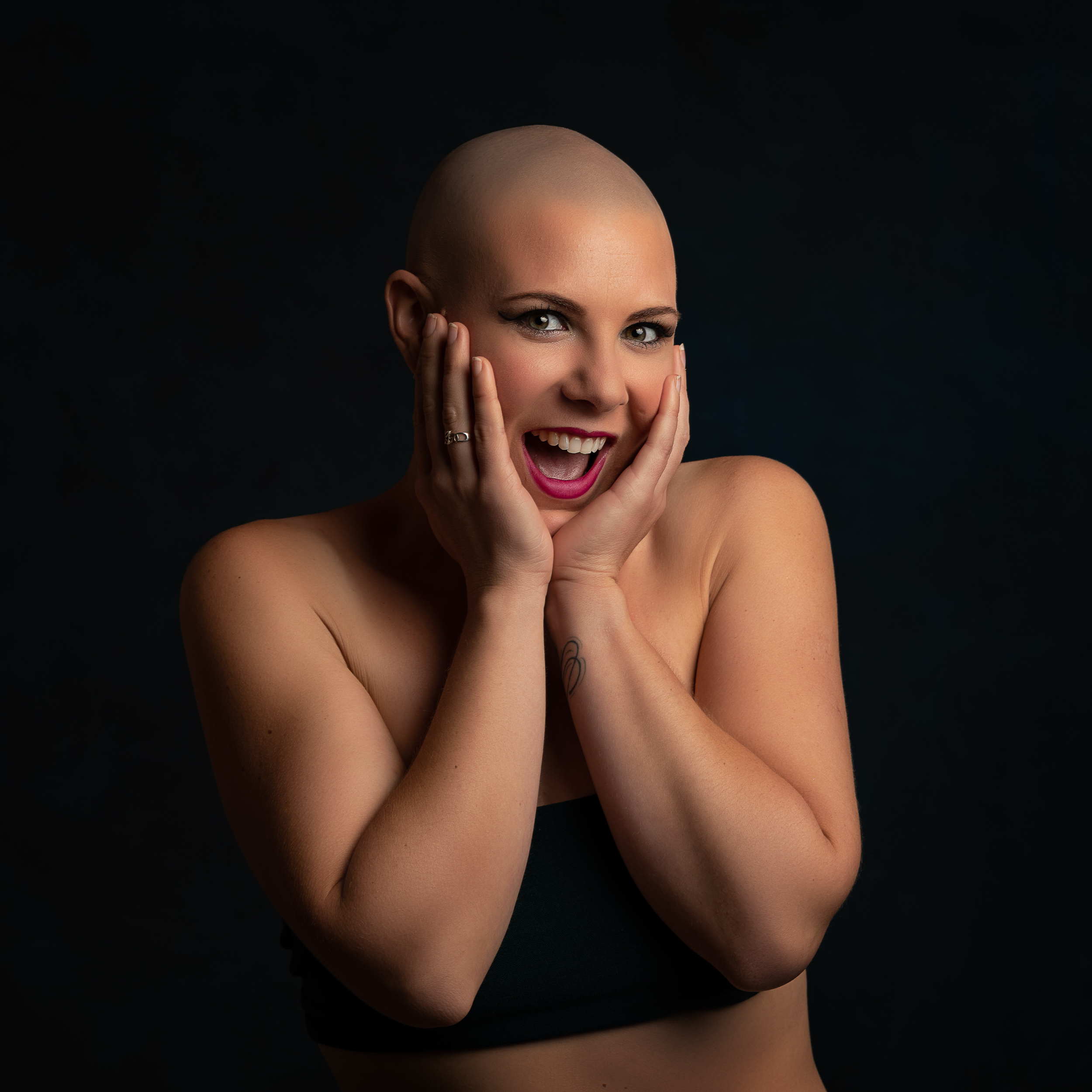Portrait of a beautiful lady with no hair for her portrait session in Sandbach, Cheshire