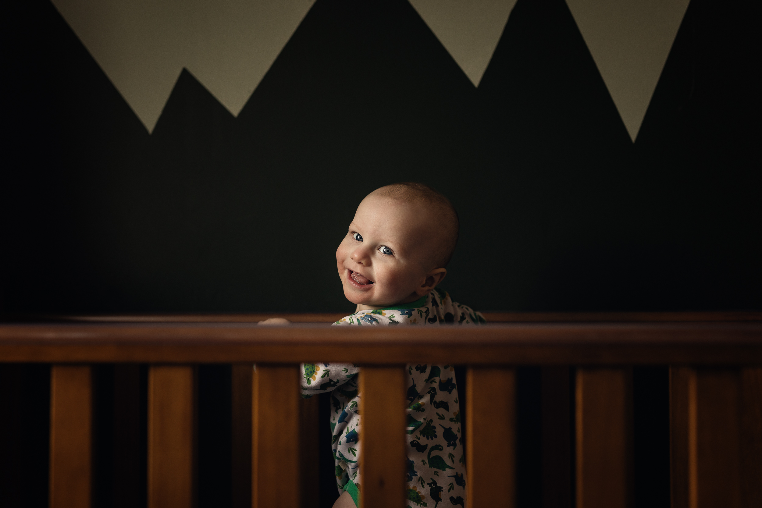 1 year old baby in his cot in Sandbach, Cheshire