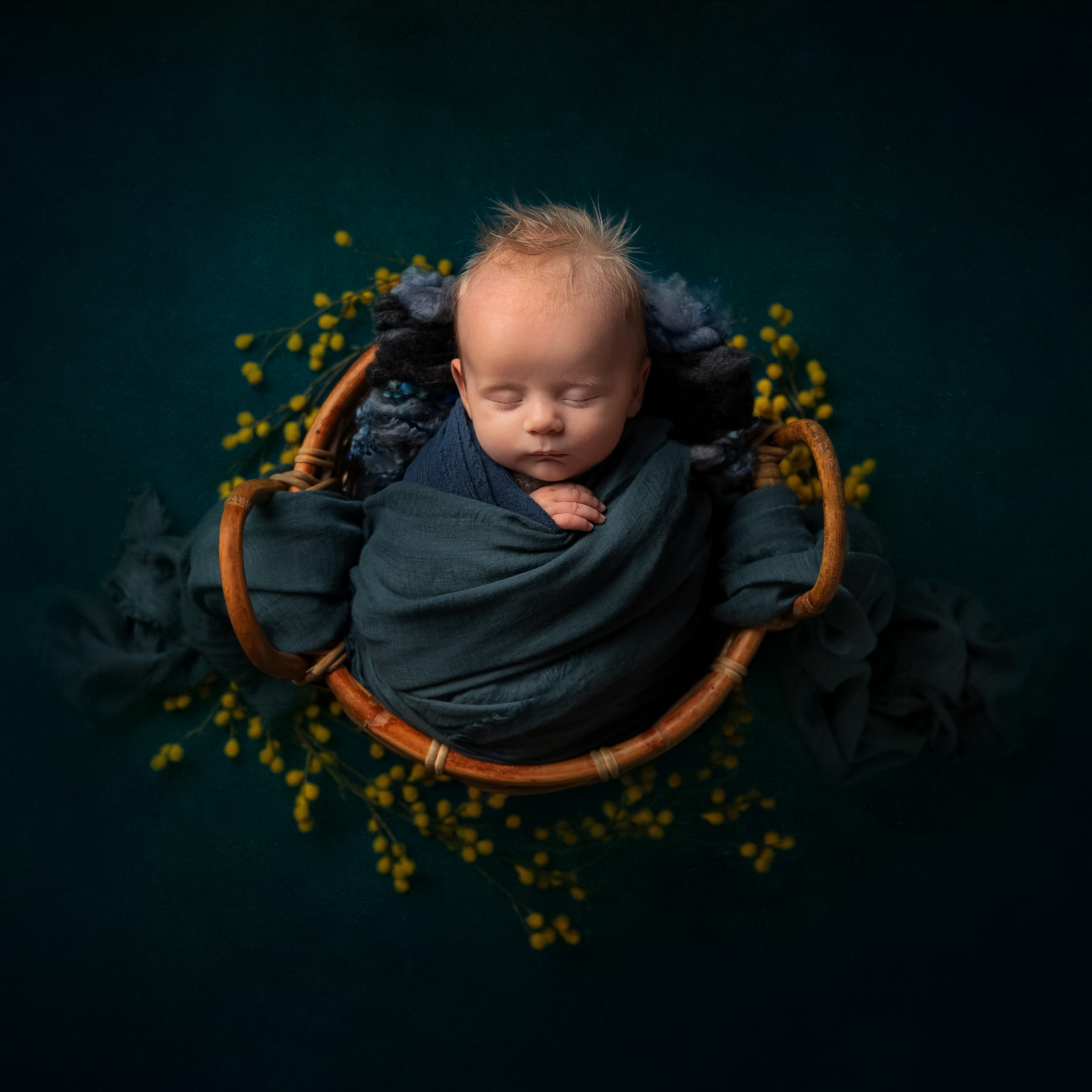 Older baby photo with yellow flowers as part of my Master Craftsman in Newborn Photography panel by award winning photographer