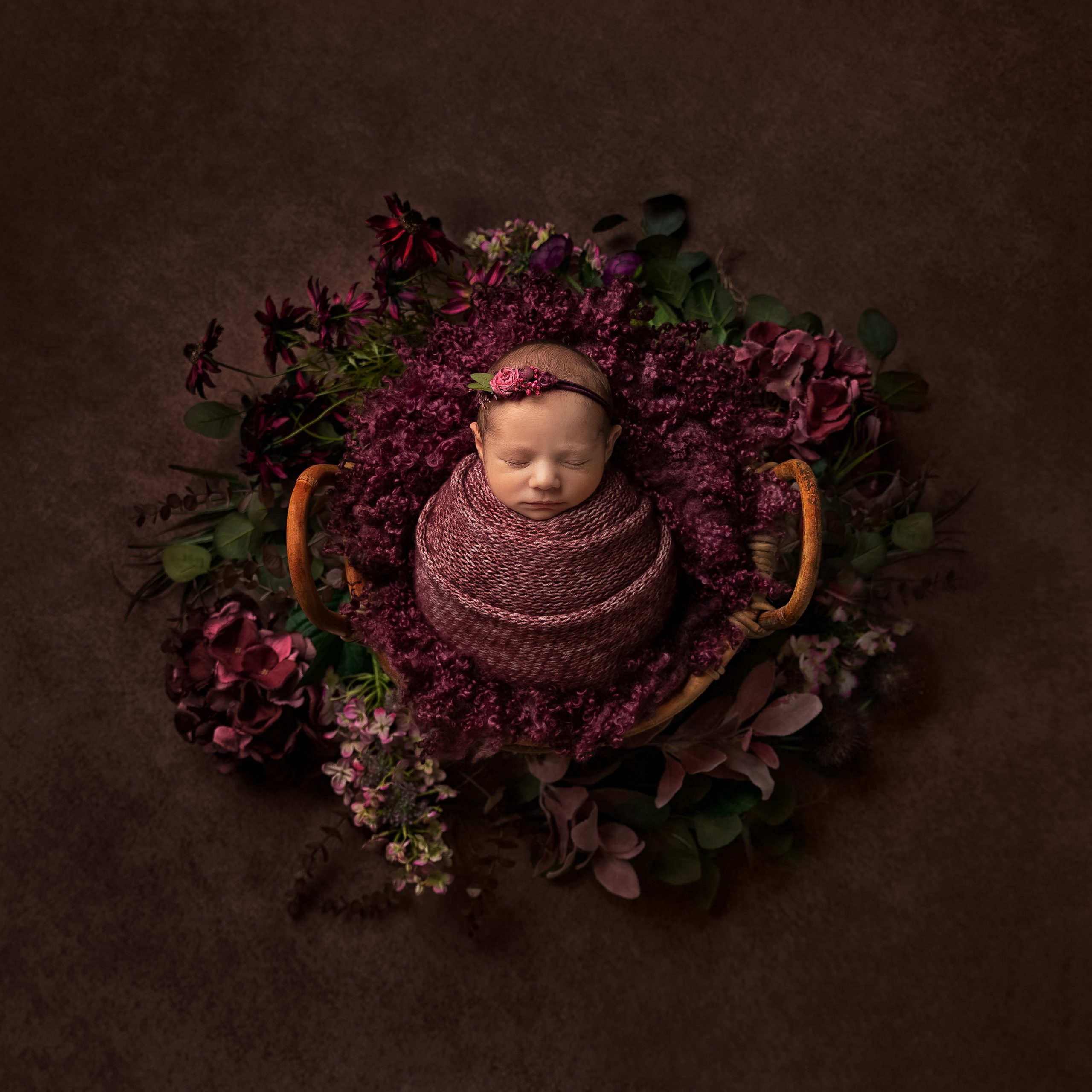 Purple themed newborn shoot with flowers in a basket as part of my Master Craftsman in Newborn Photography panel by award winning photographer