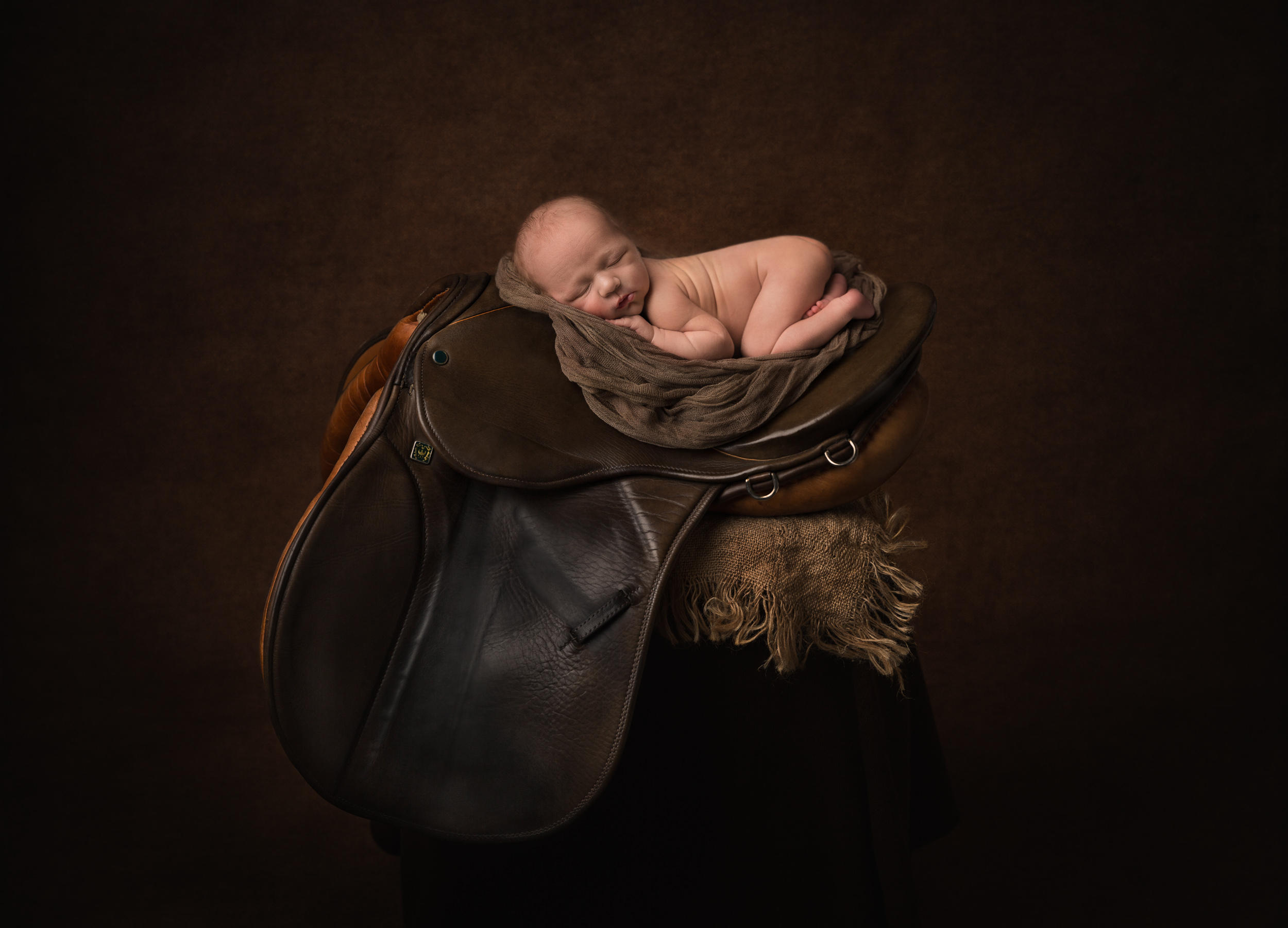 Baby posed on a horse's saddle by Cheshire newborn photographer in Sandbach
