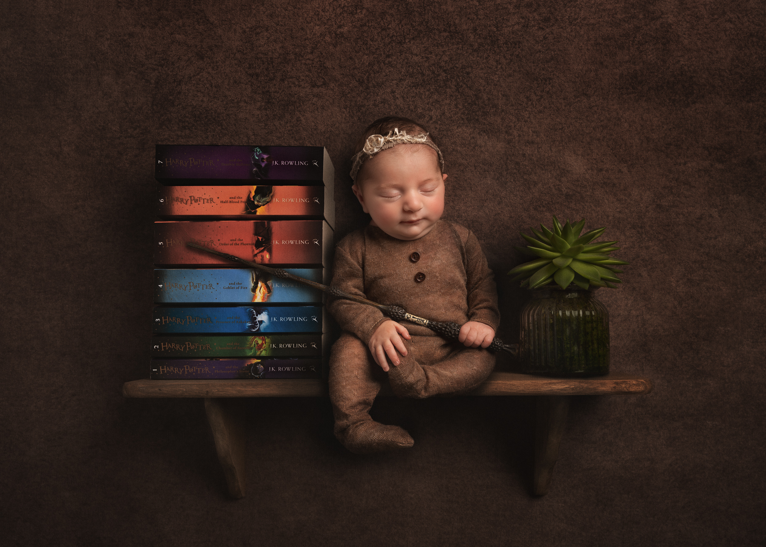 Harry Potter themed Newborn shoot with real wand by Cheshire newborn photographer in Sandbach
