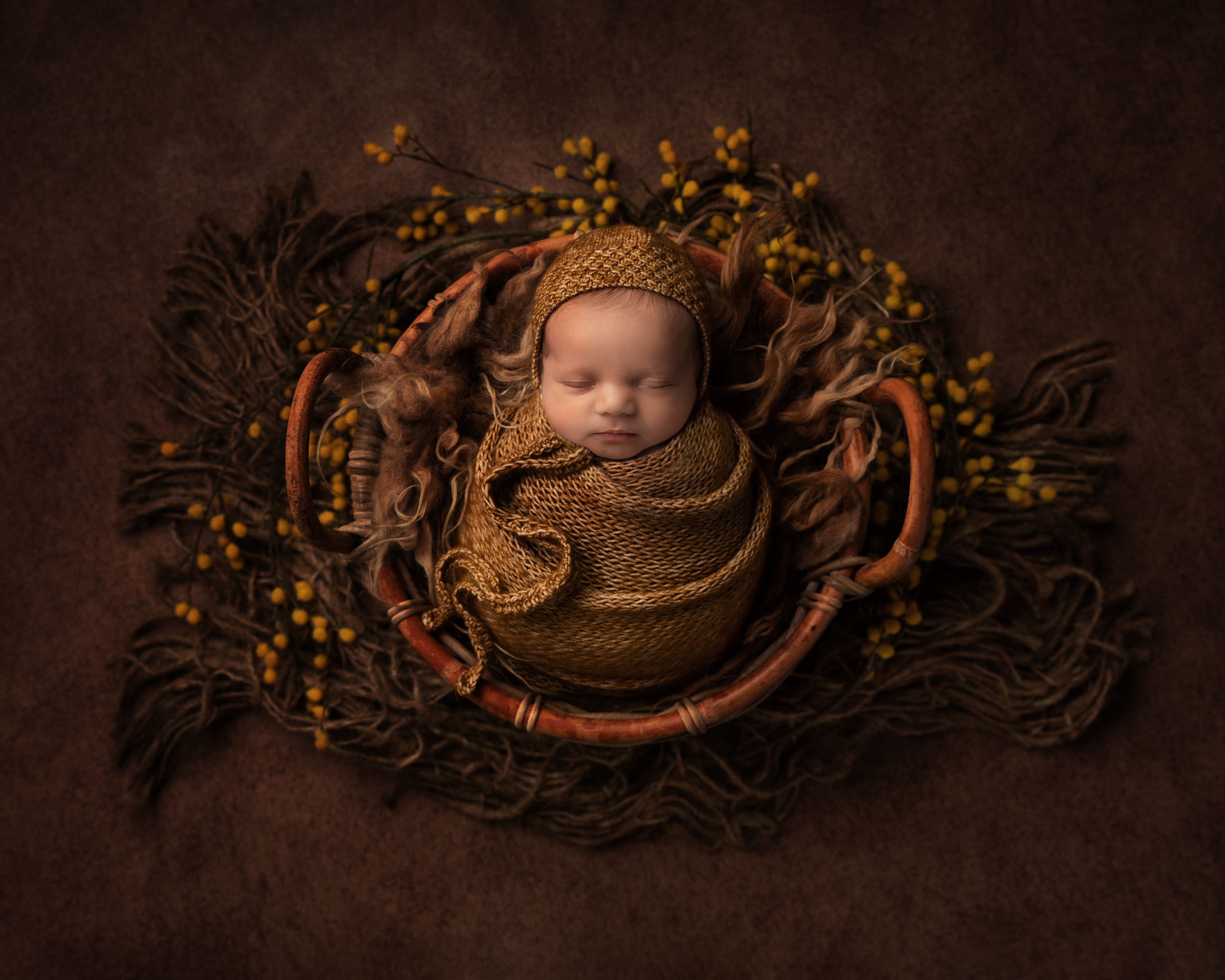 Award winning newborn image with a brown colour scheme and mustard accents by Cheshire newborn photographer in Sandbach
