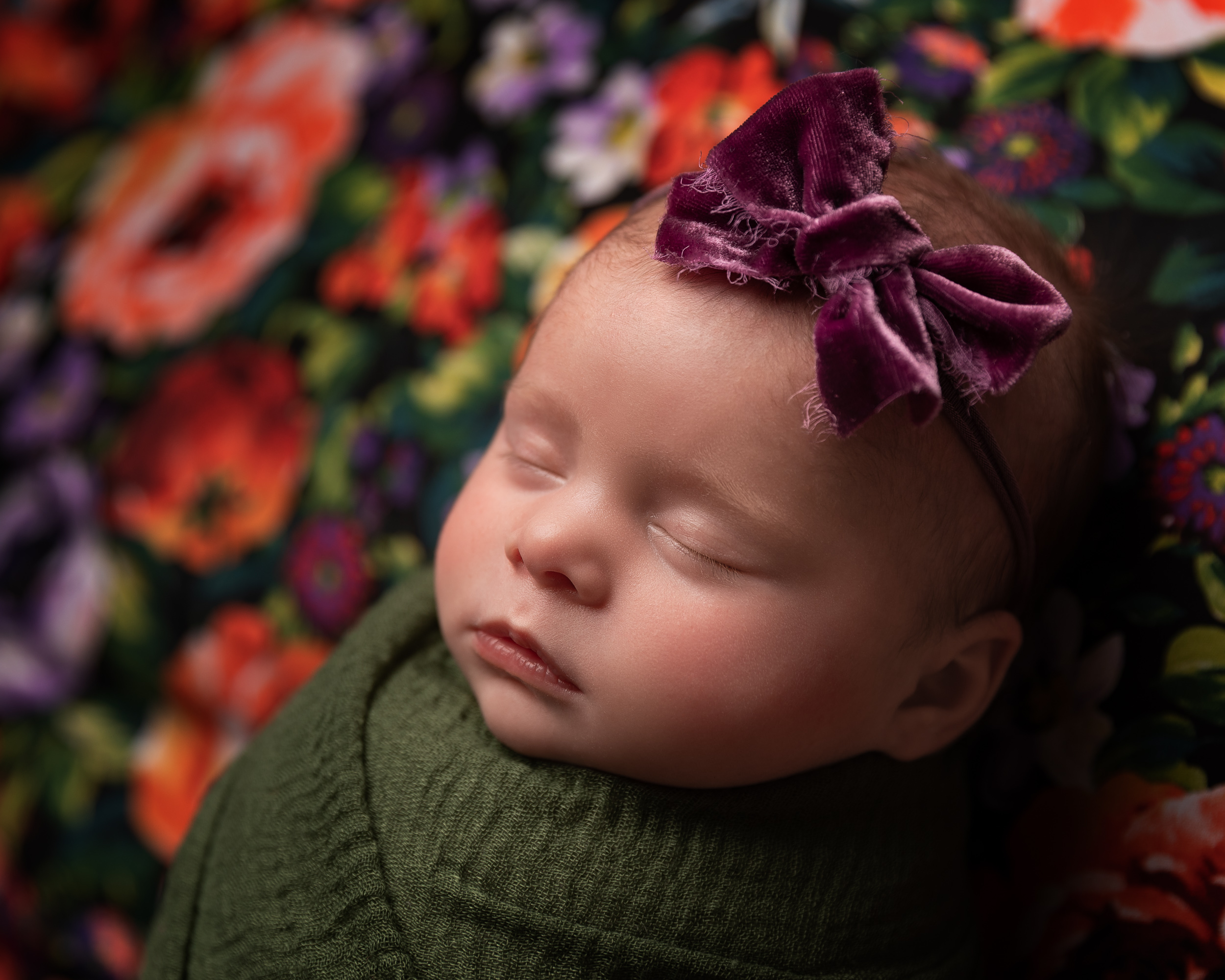Brightly coloured newborn baby girl photo by Cheshire newborn photographer in Sandbach